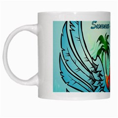 Summer Design With Cute Parrot And Palms White Mugs