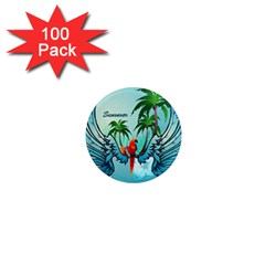 Summer Design With Cute Parrot And Palms 1  Mini Magnets (100 Pack)