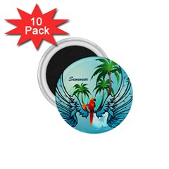 Summer Design With Cute Parrot And Palms 1 75  Magnets (10 Pack)