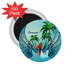 Summer Design With Cute Parrot And Palms 2 25  Magnets (100 Pack)
