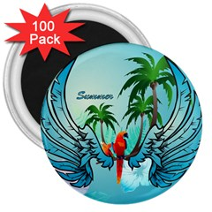 Summer Design With Cute Parrot And Palms 3  Magnets (100 Pack)