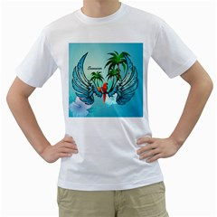 Summer Design With Cute Parrot And Palms Men s T Shirt (white) (two Sided)