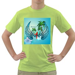 Summer Design With Cute Parrot And Palms Green T-shirt