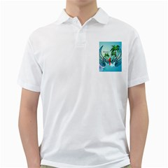 Summer Design With Cute Parrot And Palms Golf Shirts