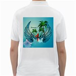 Summer Design With Cute Parrot And Palms Golf Shirts Back