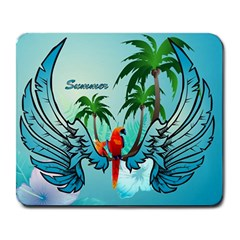 Summer Design With Cute Parrot And Palms Large Mousepads