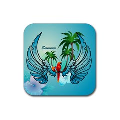 Summer Design With Cute Parrot And Palms Rubber Square Coaster (4 Pack)