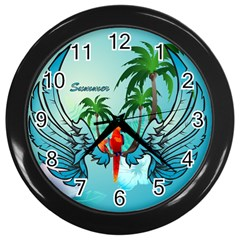 Summer Design With Cute Parrot And Palms Wall Clocks (black)