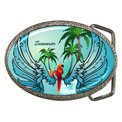 Summer Design With Cute Parrot And Palms Belt Buckles