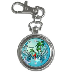 Summer Design With Cute Parrot And Palms Key Chain Watches