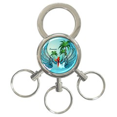Summer Design With Cute Parrot And Palms 3-ring Key Chains