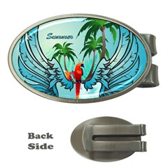 Summer Design With Cute Parrot And Palms Money Clips (oval)