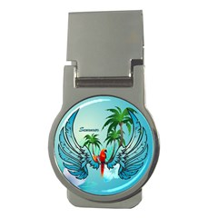Summer Design With Cute Parrot And Palms Money Clips (round)