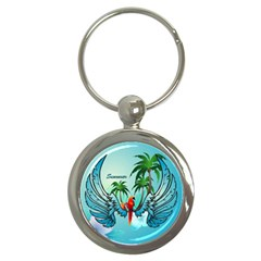 Summer Design With Cute Parrot And Palms Key Chains (round)