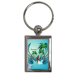 Summer Design With Cute Parrot And Palms Key Chains (rectangle)