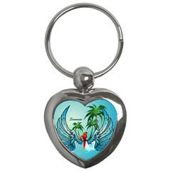 Summer Design With Cute Parrot And Palms Key Chains (heart)