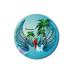 Summer Design With Cute Parrot And Palms Rubber Round Coaster (4 Pack)