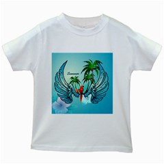 Summer Design With Cute Parrot And Palms Kids White T-shirts