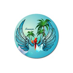 Summer Design With Cute Parrot And Palms Magnet 3  (round)
