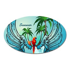 Summer Design With Cute Parrot And Palms Oval Magnet