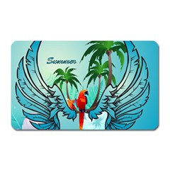 Summer Design With Cute Parrot And Palms Magnet (rectangular)