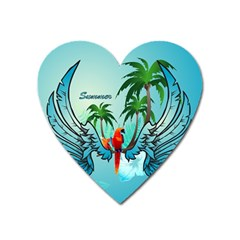 Summer Design With Cute Parrot And Palms Heart Magnet