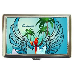 Summer Design With Cute Parrot And Palms Cigarette Money Cases