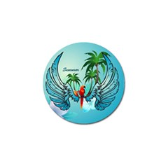 Summer Design With Cute Parrot And Palms Golf Ball Marker