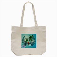 Summer Design With Cute Parrot And Palms Tote Bag (cream)