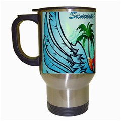 Summer Design With Cute Parrot And Palms Travel Mugs (white)