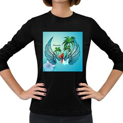 Summer Design With Cute Parrot And Palms Women s Long Sleeve Dark T Shirts