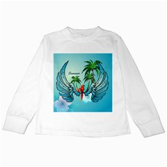 Summer Design With Cute Parrot And Palms Kids Long Sleeve T Shirts