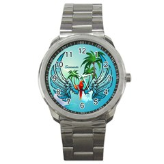 Summer Design With Cute Parrot And Palms Sport Metal Watches