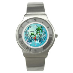 Summer Design With Cute Parrot And Palms Stainless Steel Watches