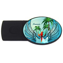 Summer Design With Cute Parrot And Palms Usb Flash Drive Oval (4 Gb)