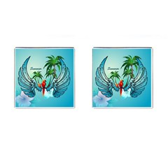 Summer Design With Cute Parrot And Palms Cufflinks (square)