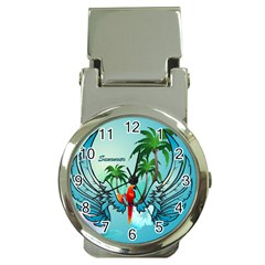 Summer Design With Cute Parrot And Palms Money Clip Watches