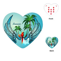 Summer Design With Cute Parrot And Palms Playing Cards (heart)