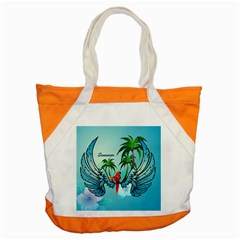 Summer Design With Cute Parrot And Palms Accent Tote Bag