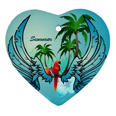 Summer Design With Cute Parrot And Palms Heart Ornament (2 Sides)