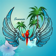 Summer Design With Cute Parrot And Palms Canvas 20  X 20