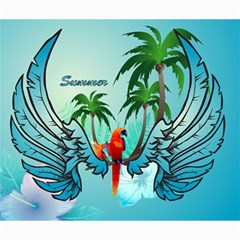 Summer Design With Cute Parrot And Palms Canvas 20  X 24