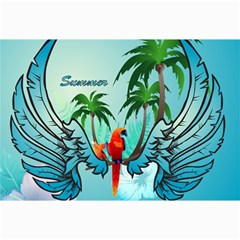 Summer Design With Cute Parrot And Palms Canvas 24  X 36