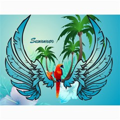 Summer Design With Cute Parrot And Palms Canvas 36  X 48