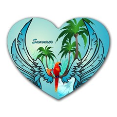 Summer Design With Cute Parrot And Palms Heart Mousepads