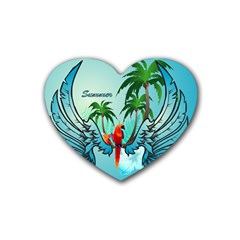 Summer Design With Cute Parrot And Palms Heart Coaster (4 Pack)