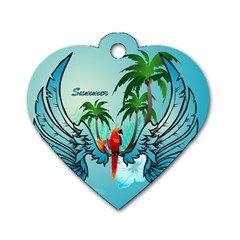 Summer Design With Cute Parrot And Palms Dog Tag Heart (one Side)