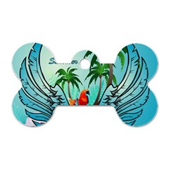 Summer Design With Cute Parrot And Palms Dog Tag Bone (two Sides)