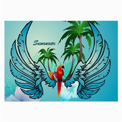 Summer Design With Cute Parrot And Palms Large Glasses Cloth