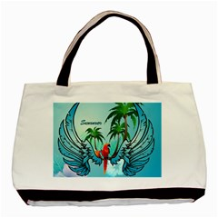 Summer Design With Cute Parrot And Palms Basic Tote Bag (two Sides)